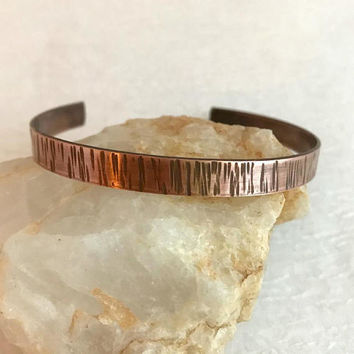 Rustic Copper Bracelet, thin hammered adjust cuff textured aged climb hiking camping jewelry woman gift for her unisex