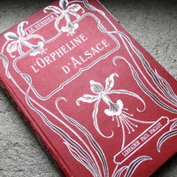 Red & Silver Journal Upcycled Antique French book by Spellbinderie