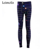 Leimolis 3D printed fitness push up workout leggings women gothic Pacman FC game plus size adventure time punk rock pants