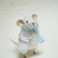 Little Traveler Mouse- unique - needle felted ornament animal, felting dreams made to order