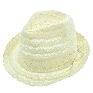 Womens Light Beige Cotton Crochet Lace Fedora Hat White Leather Cord Accent UV Protection 50+