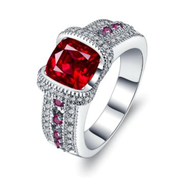 ON SALE - Fiery Pink Cushion Cut CZ Solitaire Ring