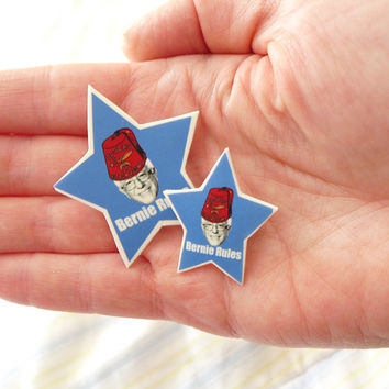 Fez Bernie Brooch, Bernie Sanders Button,  Bernie Pin - One of a Kind, Unique Bernie Button,  Bernie for President Election Pin
