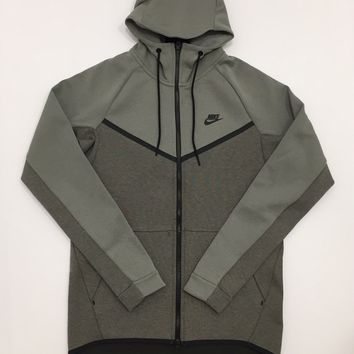 KUYOU Nike Sportswear Tech Fleece Full Zip Up Hoodie Dark Stucco Heather Black 885904-004