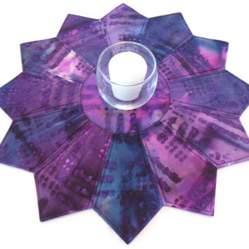 Purple Batik Candle Mat Table Topper Quilted Fabric Artsy Decor