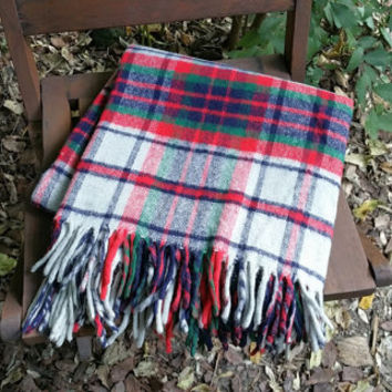 Red and Gray Arcylic  Tartan Plaid Stadium Blanket Afghan Throw