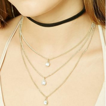 2017 new fashion multi-layer necklace, the original single three simple diamond ornaments