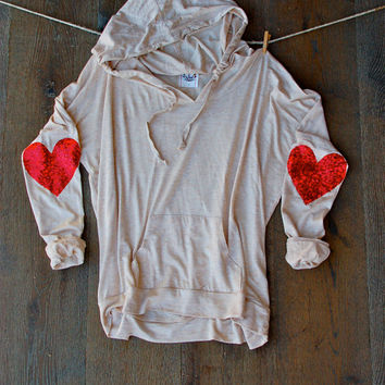 Sequin Patch Heart Elbow Patch Hoodie Oatmeal Valentines Day Fashion Womens Long Sleeve Sparkly Elbow Patch Sweater Jumper Gifts for Her