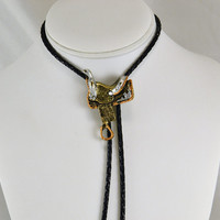 Bolo Tie - Western  Saddle - Gold Copper & Silver Tone - Western Wear - Horse Show Rodeo Wedding - Unisex