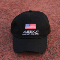 Black American Flag Embroidered Baseball Cap Sun Hat