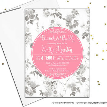 Whimsical Bridal Shower Invitation boho, floral Bridal Shower invite, country wedding Shower invite bohemian pink gray, printable - WLP00678