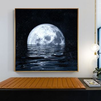 Space Astronaut Planet Canvas Painting Moon Eclipse Posters And Print Modern Wall Art Picture For Living Room Studio Aisle Decor