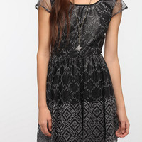 Urban Outfitters - Pins and Needles Metallic Lace Deep V-Back Dress