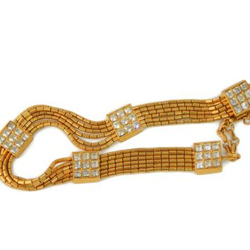 KJL Channel Set Rhinestone Choker Necklace Gold Tone Tube Beads Kenneth J Lane Earliest Hallmark