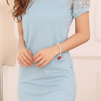 Light Blue Floral Lace Dress