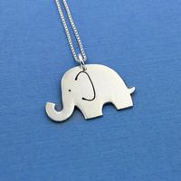 Cute elephant sterling silver necklace shiny texture finish pendant comes with italian box style chain choose your length 16 18 20 inch