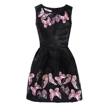 Sleeveless Girls Dresses Butterfly Floral Print Teenagers Dress for Girls Clothes Formal Princess Party Dress Baby Kids Vestido