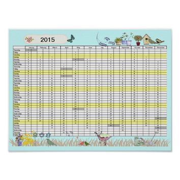 2015 Year Wall Planner UK Bank Holidays Calendar