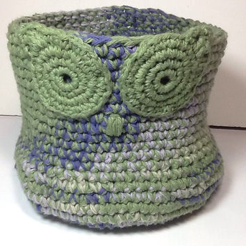 Owl Basket, Crochet Basket, Cotton, green with blues, sturdy basket, Catch All, Home Organizer, storage bin, bathroom decor, whimsical