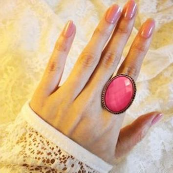 Hot Sale European Vintage Pink White Color Big Opal Rhinestone Oval Wedding Bands Finger Rings for Women Girls Jewelry