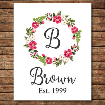 CUSTOM PRINT, Last Name Art, last name wall art, family name sign, personalized wedding gift, floral wreath, floral art, floral wreath print