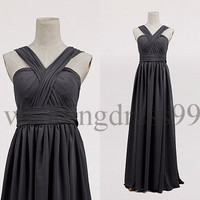 Custom Gray Long Prom Dresses Formal Evening Gowns Bridesmaid Dresses 2014 Party Dress New Cocktail Dress Formal Dress Evening Dresses