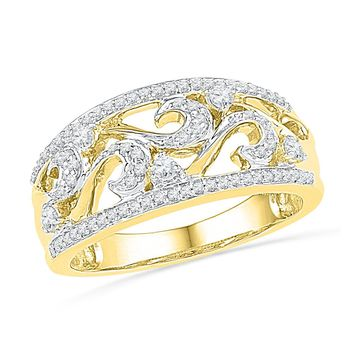 10kt Yellow Gold Womens Round Diamond Filigree Band Ring 1/3 Cttw