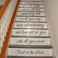 Proverbs 3:5-6 Bible - STAIR CASE Art Wall Decals Wall Stickers Vinyl Decal Quote