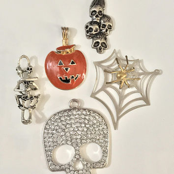 Set of 5 HALLOWEEN Theme Pendants / Spooky Necklace Jewelry Set / Rhinestone Skull / Orange Enamel Pumpkin / Spider Web / Skeleton Lovers