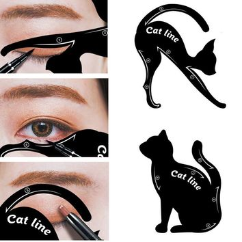 1 Set Cat Eyeliner Stencil Professional Makeup Eyebrow Stencil Models Eyes Liner Template Shaper Stamping Tool Plastic Templates