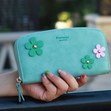 Fashion Round Wallet Candy Color Floral Clutch Nubuck Leather Clutch Lady Zipper Sweet Money Purse Mobile Bag Women Wallets