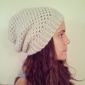 Slouchy Hat, Crochet Slouchy Hat, Hat for Girl, Adult, Beanie, Womens Clothing, Slouchy Beanie, Winter Hat, Cream Slouchy Hat, Crochet Hat