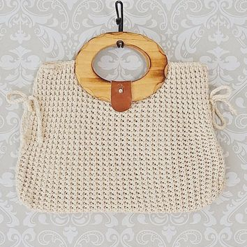 Vintage 1970s Crochet + Wood Handle Handbag