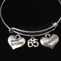 Happy 65th Birthday Grandma Expandable Charm Bracelet Silver Adjustable Wire Bangle Grandmother Gift