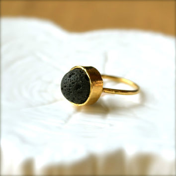 Lava Bead Gold Ring by illuminancejewelry on Etsy