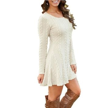 Short knitted sweater dress with long sleeves  ~ Plus size available
