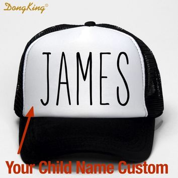 Trendy Winter Jacket DongKing Kids Baby Child Name Custom Trucker Hat Printed Name Child Baby Son Daughter Custom Personal Cap  Baseball Cap Gift AT_92_12