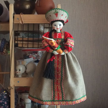 Russian Souvenir (Display / Hanging) Doll with baby 20'' -- porcelain head, hands and feet. Folk Dress, Kokoshnik, Wall Decor