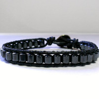 magnetic hematite mens bracelet - black leather wrap bracelet for men - gift for dad - father's day