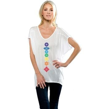 Yoga Clothing for You Ladies Dolman Floral Chakras Tunic Yoga Shirt
