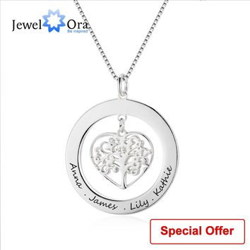 Family Gift Jewelry Tree Of Life Personalized Engrave Name Necklace 925 Sterling Silver Necklaces & Pendants (JewelOra NE102380)