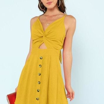 Twist Front Button Dress