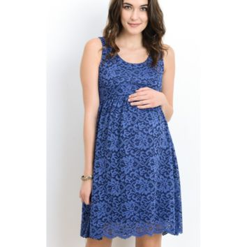 Beautiful Navy Blue Sleeveless Lace Scallop Maternity Dress