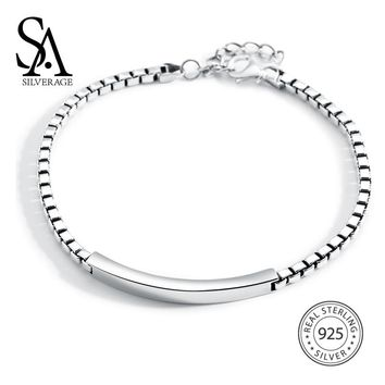 SA SILVERAGE Long Bar Vintage Bracelets & Bangles for Men/Women 925 Sterling Silver 3mm Thick Chain Bracelet Fine Jewelry