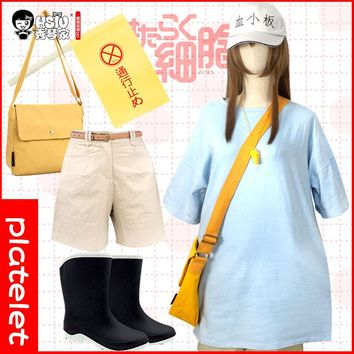 HSIU platelet Cosplay Sets Cells At Work Costume Play blue T-shirt&short&hat&flag&Satchel&wig Halloween Costumes free shipping