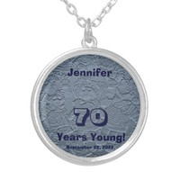 70th Birthday 70 Years Young Blue Dolls Necklace