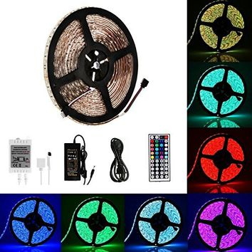 LED Rope Lights Le Freshinsoft Waterproof 16.4ft 5M SMD 5050 300leds /Roll RGB Color Changing Flexible Led Strip Light Kit with 44Keys Remote Controller+DC12V 5A Power Adapter for Kitchen, Bedroom
