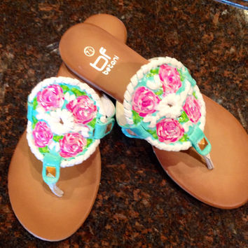 Jack Rogers inspired sandals with Lilly pulitzer like design