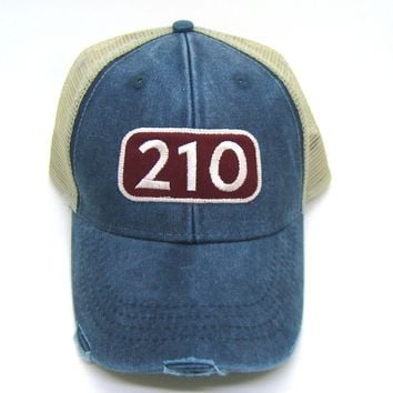 210 Area Code Trucker Hat - Distressed Snapback -San Antonio