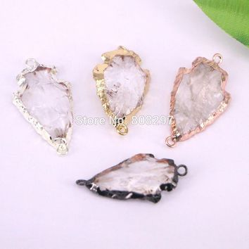 DIY 8PCS Nature Stone Arrowhead Connector Beads,Electroplated Arrow Stone Beads Charms